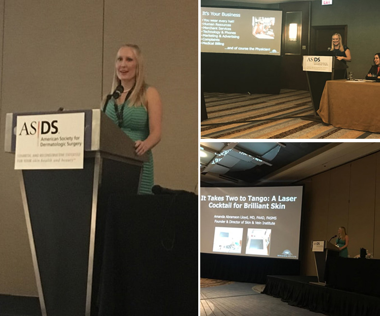 Dr. Amanda Lloyd gave two lectures to her fellow Dermatologists at this years American Society for Dermatologic Surgery annual meeting in Chicago, IL, 1