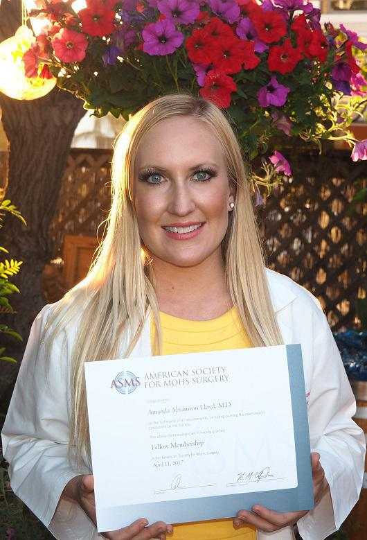 Dr. Amanda Lloyd is Fellow of American Society for Mohs Surgery