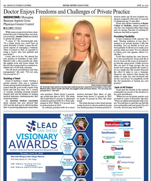 Dr. Amanda Lloyd featured in the San Diego Business Journal