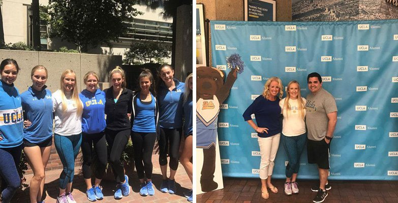 Dr. Amanda Lloyd, a former member of the UCLA cheerleading squad returned to campus to teach the current UCLA Spirit Squad about skin care and sun protection