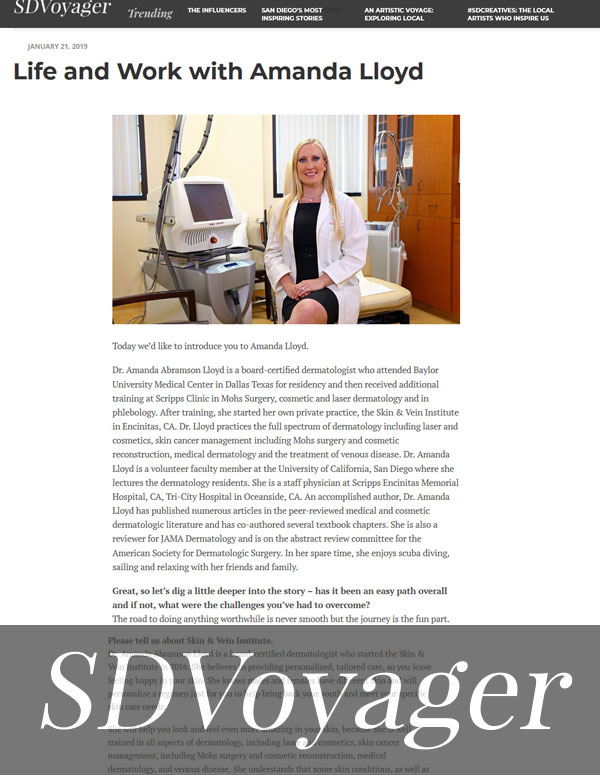 Life and Work with Amanda Lloyd - featured in the SDVoyager Page 1