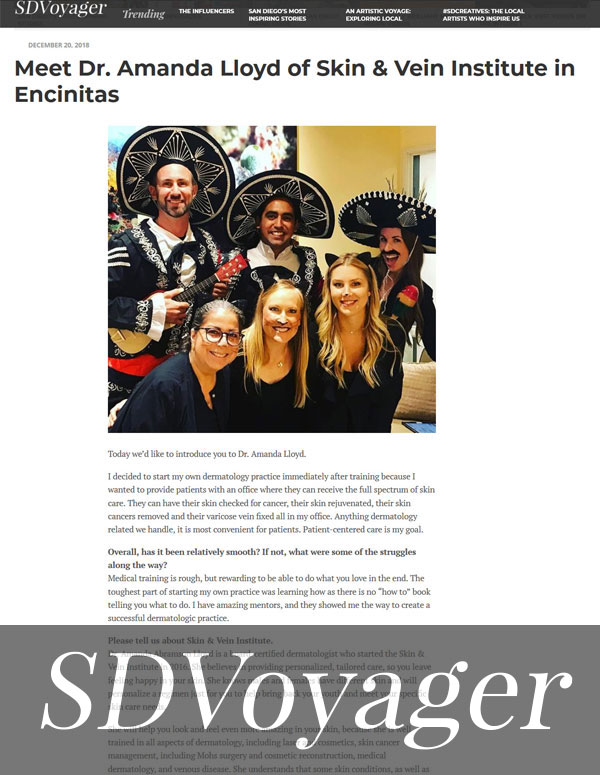Dr. Amanda Lloyd was featured in the SDVoyager Page 1